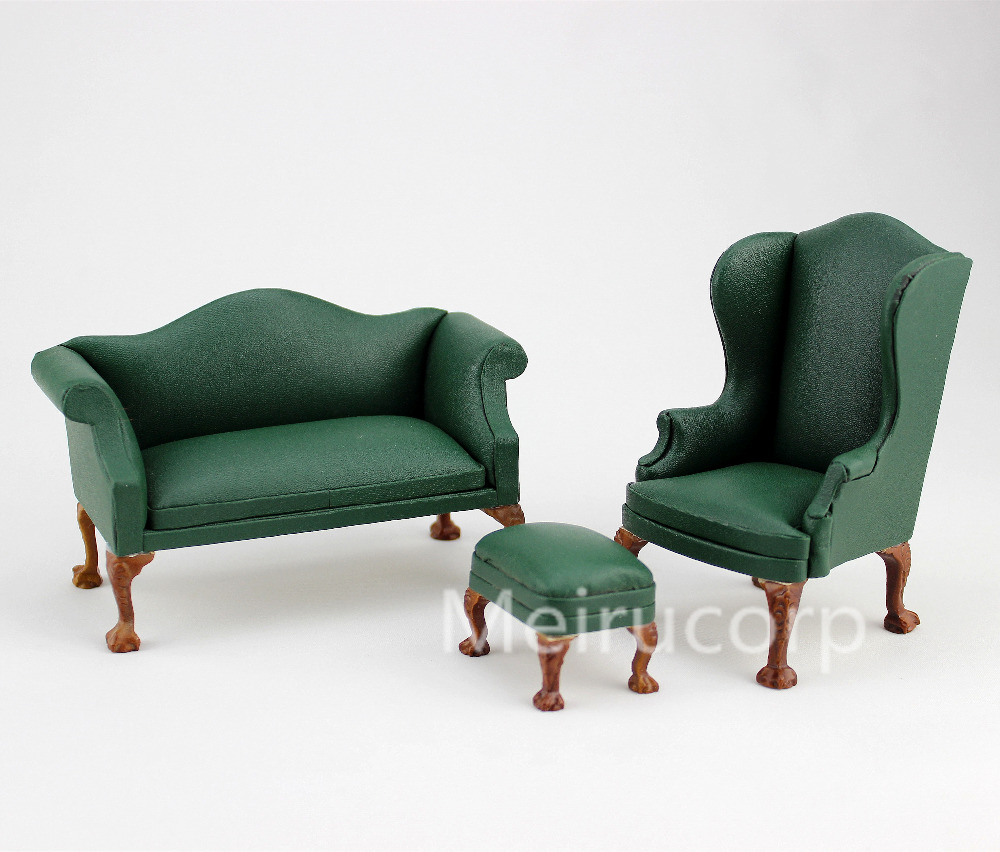 1:12 Scale Green Rexine Double Sofa&chair set Dollhouse Miniature Furniture High Quality