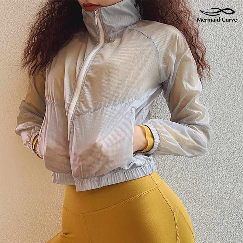 حورية البحر منحنى تشغيل النساء سترة رقيقة الرياضية معطف سستة فضفاض طويل كم اليوغا قمم صالة اللياقة البدنية النسائية سترة يندبروف