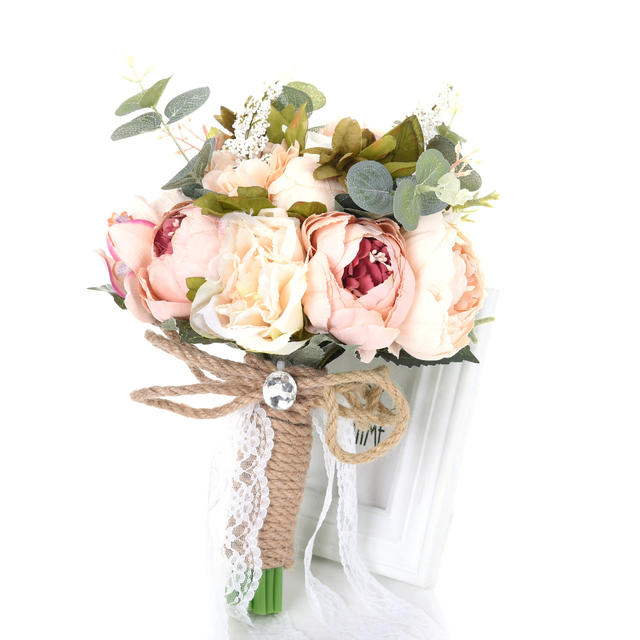 Wedding Flowers Lace Hand Bouquet Bridal Bouquets Silkflowers ...