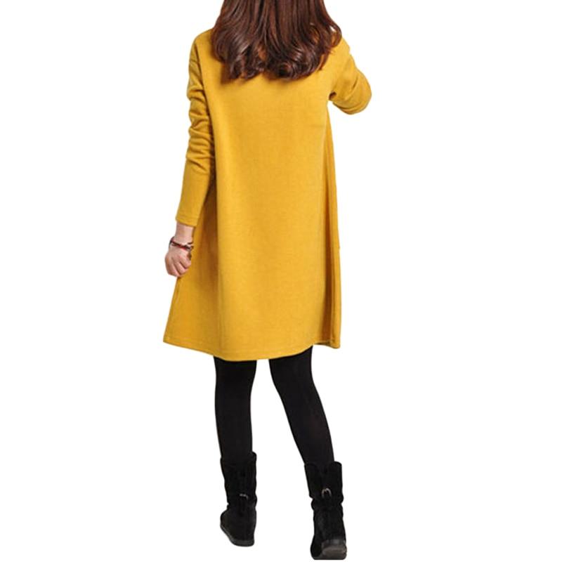 HTB1Qk4IQpXXXXXnapXXq6xXFXXXO - 2018 Autumn Dress Women Winter Long Sleeve Pocket Dress Solid O Neck Casual Loose Party Dresses Fashion Vestidos Plus Size S-5XL