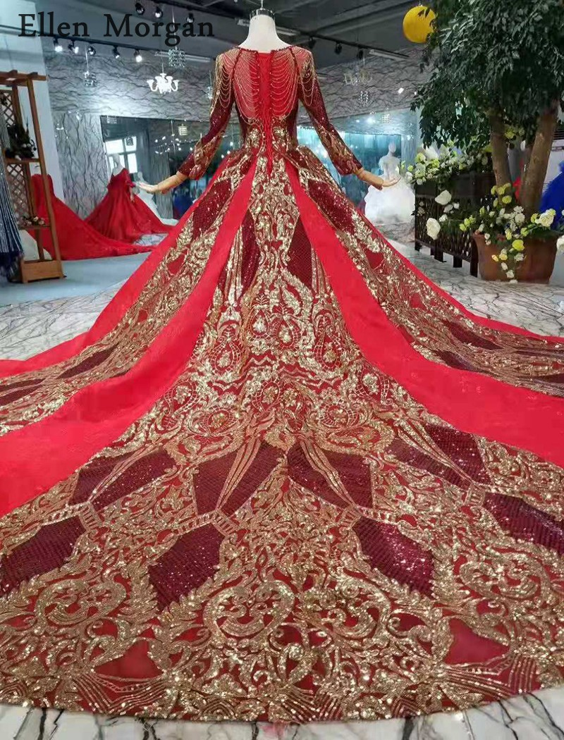 Image 4 - Burgundy Long Sleeves Wedding Dresses with Gold Lace Puffy Boat Neck Chapel Train Corset Luxury Princess Vintage Bridal Gowns-in Wedding Dresses from Weddings & Events