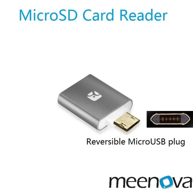 Meenova Traço Micro MicroUSB G3-Mini Leitor De Cartão MicroSD Com Reversível para o Android, otg leitor com caso xiaomi gopro, Caixa de TV