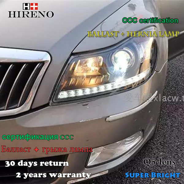 Hireno Headlamp for Skoda Octavia 2010-2014 Headlight Assembly LED DRL Angel Lens Double Beam HID Xenon 2pcs