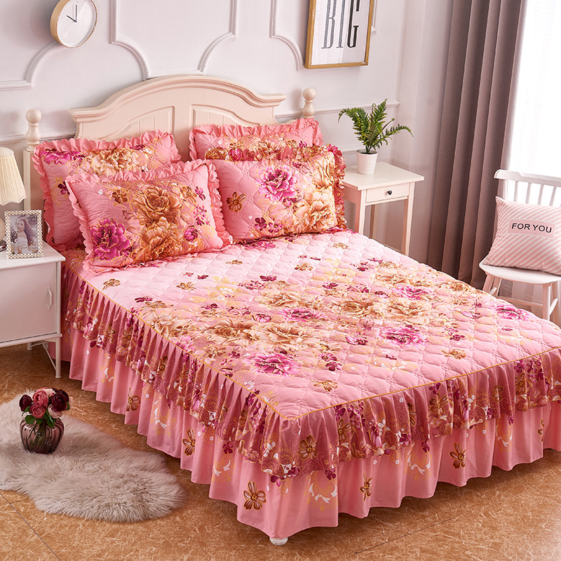 Quilted Thick Soft Bedspread Lightweigh Microfiber Flowers Blossom Printed Double Ruffled Bedskirt 160X200cm 3Pcs Bed Cover Set