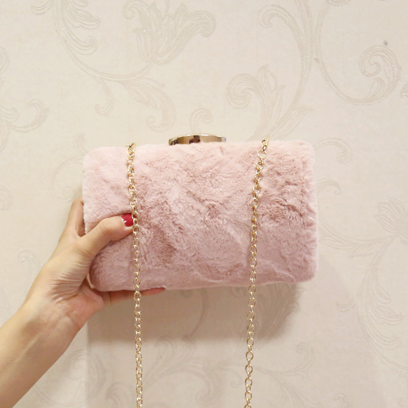 New winter imitation rabbit fur mini chain handbag new shoulder messenger bag clutch evening bag banquet bag 2018 Beach Bag genuine 18k white yellow gold chain 40cm 45cm 1mm thickness au750 cost price necklace wedding party gift for women