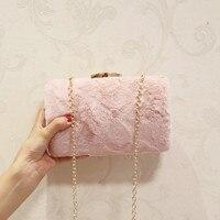 New Winter Imitation Rabbit Fur Mini Chain Handbag New Shoulder Messenger Bag Clutch Evening Bag Banquet