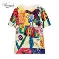 Bien hecho payaso de colores de Lentejuelas de impresión Casual camiseta de Las Mujeres Más El tamaño grande de la Marca Camisetas de Mujeres de Gran Tamaño Suelta la Camiseta Tops TS-065