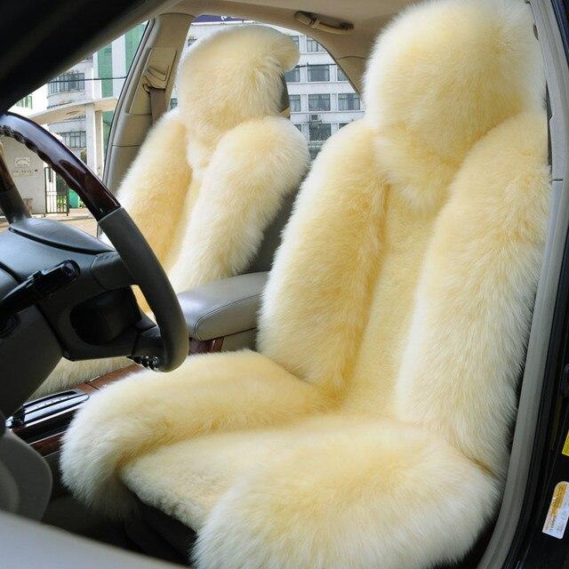 One set beige Genuine sheepskin car Accessories car seat cover Car Rear Seat Cover 1set