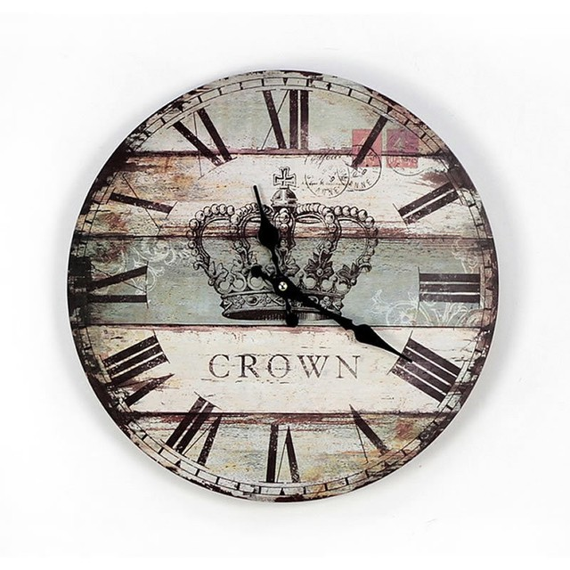 Aliexpresscom Buy Roman Numerals Crown Round Wooden Wall Clock