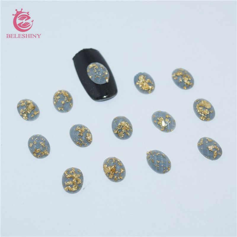 50ชิ้น/ล็อต3Dเล็บศิลปะเจลฟอยล์สีทองกระดุมเรซินเจาะDIYไพลินอุปกรณ์สำหรับเล็บออกแบบSZ015