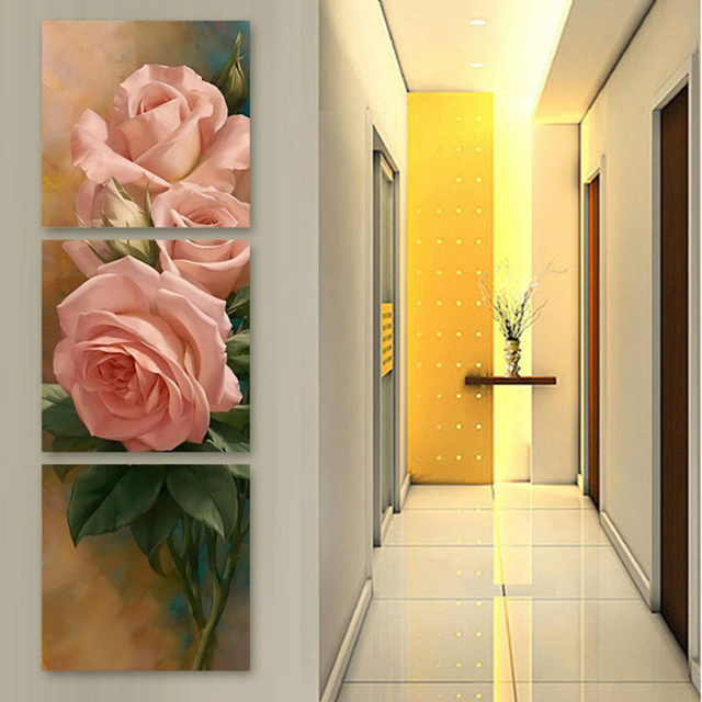 Canvas Pictures Modern HD Prints Home Decor 3 Pieces Pink Roses ...