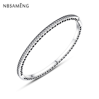 New Authentic 100% 925 Sterling Silver Beads Charm Enamel Radiant Hearts Crystal Bangles Bracelets Fit DIY Pan Bead Jewelry