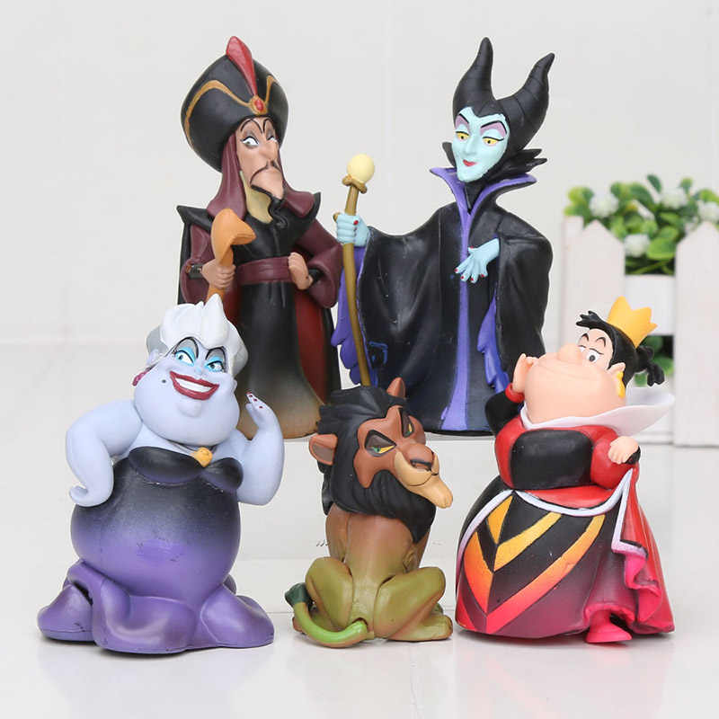 Cartoon Witch Villains Malefice Ursula The Red Queen Scar Jafar lion Q Posket Princess PVC Figures Collection Toys
