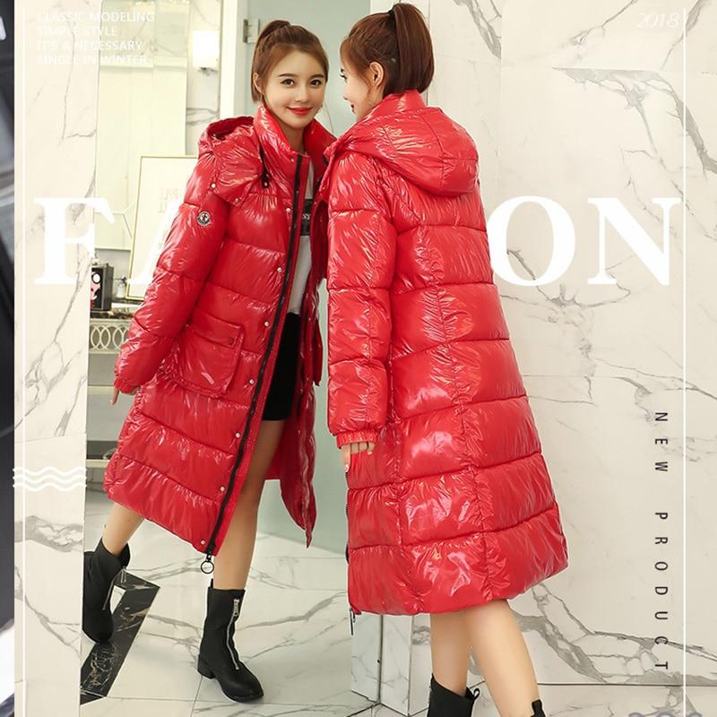 Winter Women Long   Down     Coat   Hooded Parka Warm Thicken Jacket White Duck   Down   Female Loose Large Size Outwear Overcoat Winter
