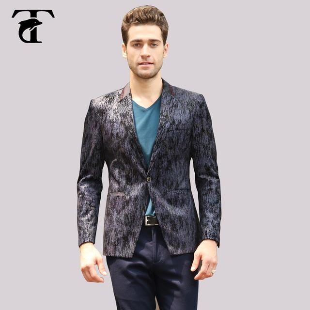 2017 de cetim gola blazer Custom Made Slim Fit Terno Homens impressão Azul Marinho Preto Elegante blazer Para Os Homens de Negócios Bleiser Masculino