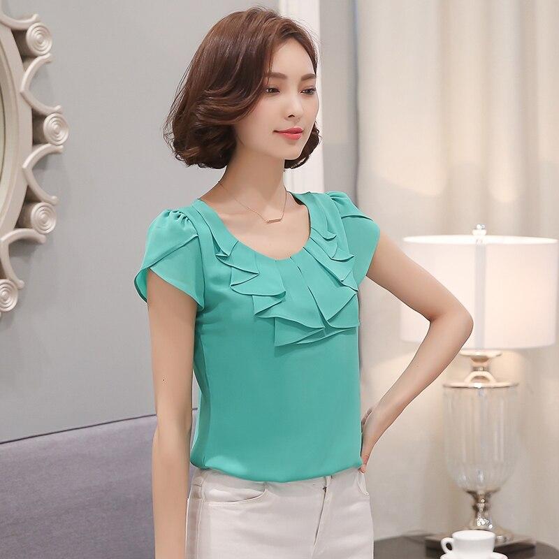 e209976222ee8 2017 nueva moda de mujer Oficina Camisas Blusas elegantes damas Blusa de  gasa de manga corta para Mujer Tops camisa de mujer 861C 43 en Blusas y  camisas de ...