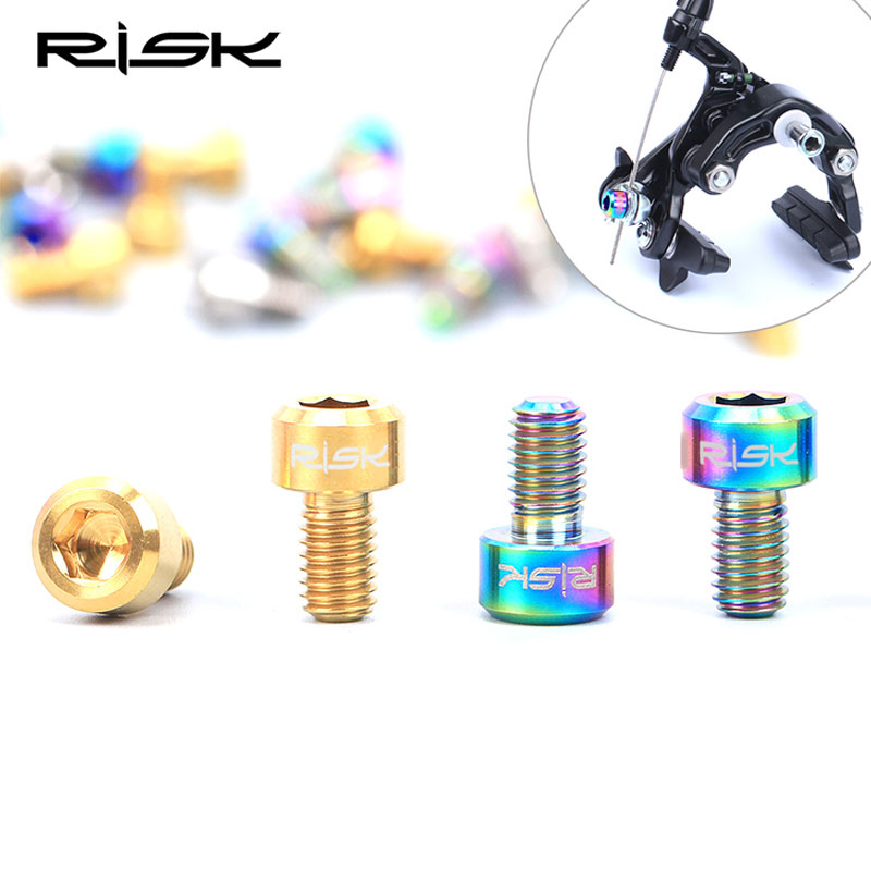 RISK 2PCS/lot M6x10mm Titanium Alloy Road Bike Bolts Allen Head MTB Brake Calipers Screws Cycling Bicycle Stem Brake Fixed Bolts