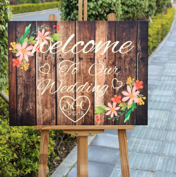 Personalized Wood Wedding Welcome Sign With Flowers,Rustic Wedding Decoration,Unquie Floral Wedding Gift,Custom Initials & Date