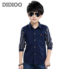 Striped Shirts For Boys Clothing Children Tops Patchwork Letter School Boys Blouses Spring Autumn Kids Clothes 4 6 8 10 12 Years