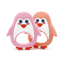 hot deal buy baby teethers ring training food silicone cute penguin toddler diy chew toy teething gift infant oral care baby newborn products