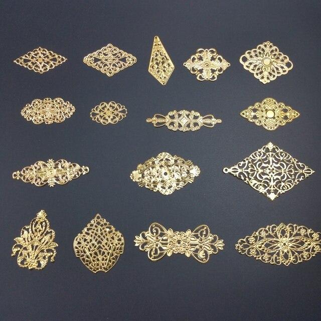lozenge Metal Filigree Flowers Slice Charms base Setting Jewelry DIY Components Findings 1