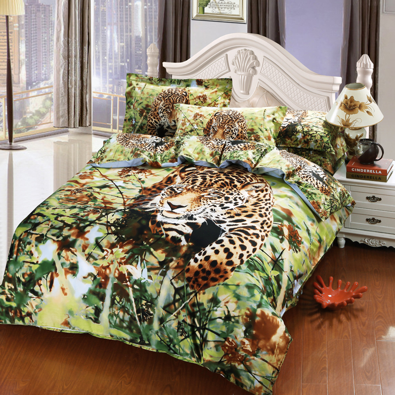 Merveilleux Jungle Animal Cheetah Print 3D Bedding Set 100% Cotton Bedroom Sets Duvet  Cover Pillowcase Bed Sheets For Queen Full Size Beds In Bedding Sets From  Home ...
