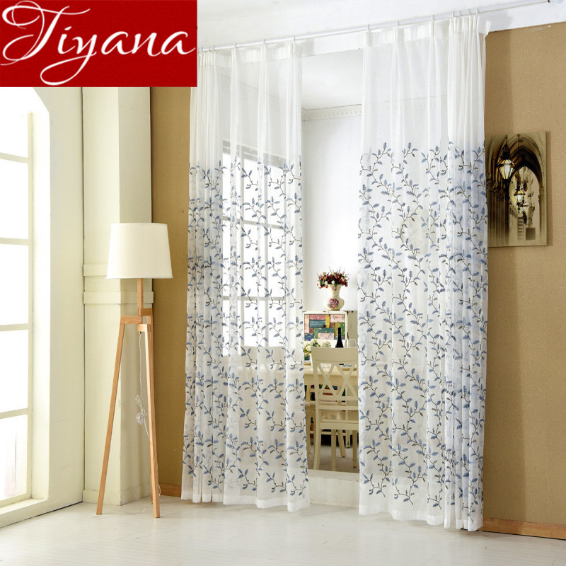 Rural font b Curtains b font For Modern Simple Living Room Leaves Embroidered Voile Window Screen