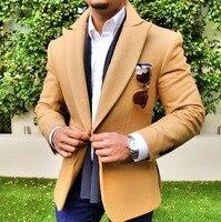 2019 Brown Suit Jacket For Men Leisure Wool Tweed Balzer Formal Notch Lapel Business Slim Fit Tuxedos Groomsmen For Winter Coat