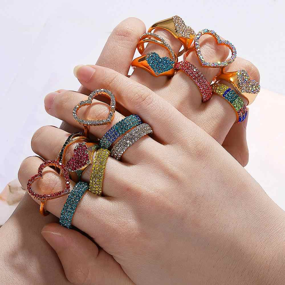 Dvacaman Boho New Charm Multi-Color Crystal Rings for Women Gold Metal Statement Finger Rings Wedding Romantic Party Jewelry