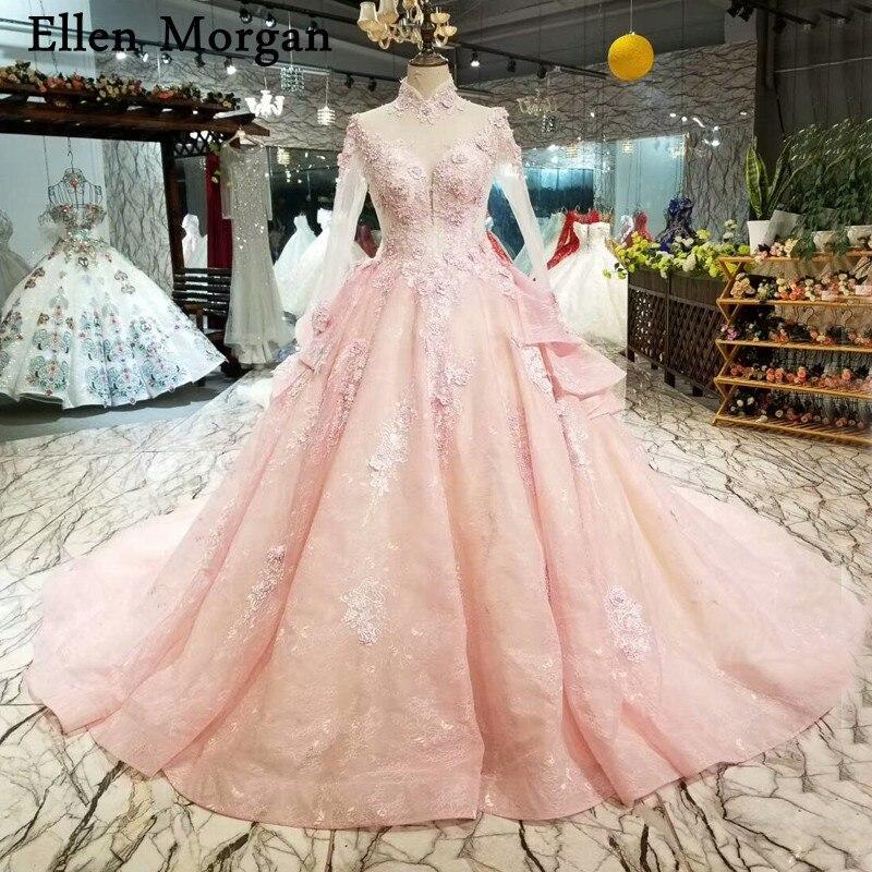 Col haut manches longues robes De mariée 2019 Vestido De Noiva Vintage à lacets vraies Photos rose élégant robes De bal robes De mariée