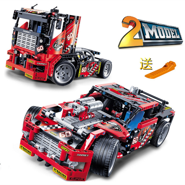 Decool 3360 truck race car 2 en 1 transformable modelo building block sets diy juguetes compatibles con ladrillos