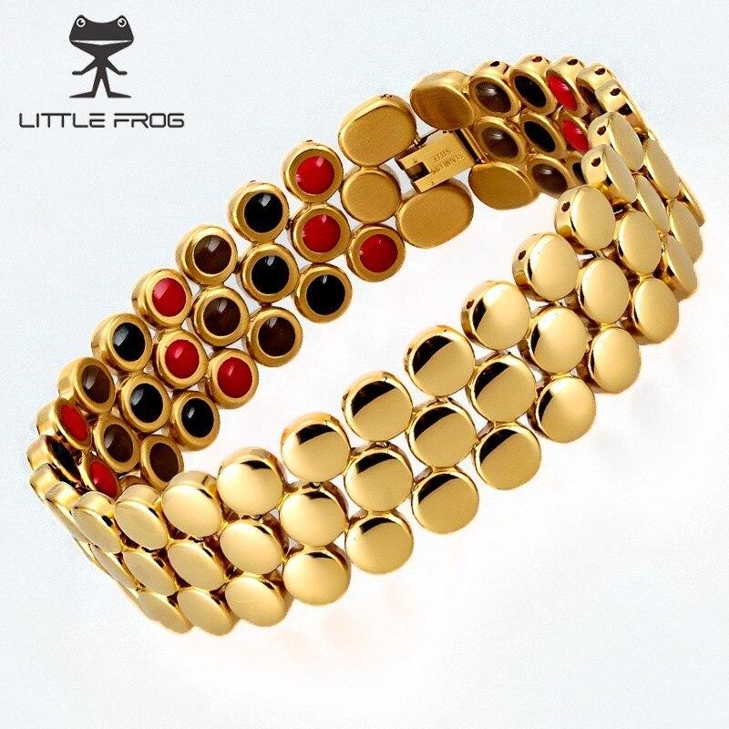 LITTLE FROG Healing Energy Stainless Steel Bracelets Magnetic Ions Germanium Healthy Wide Bracelet Men Jewelry