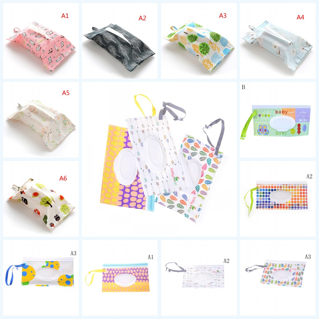 1PC Portable Cartoon Baby Kids Wet Wipes Clutch Carrying Bag Wet Paper Tissue Container Dispenser Snap-strap Pouch Light Weight