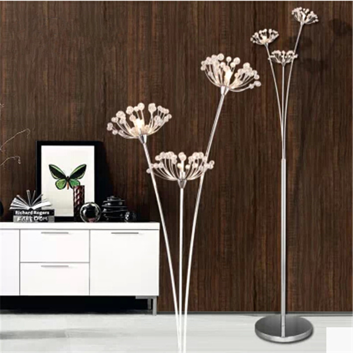 New Modern Crystal Floor Lamp For Living Room Flower