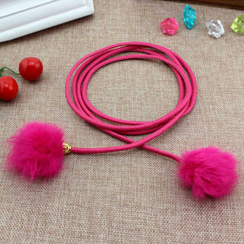 Fashion Women Fur Belts Leather Waist Chain Fur  Ball Pom Pom Candy Color Elegant Ladies Youth Girl Cinturones Mujer