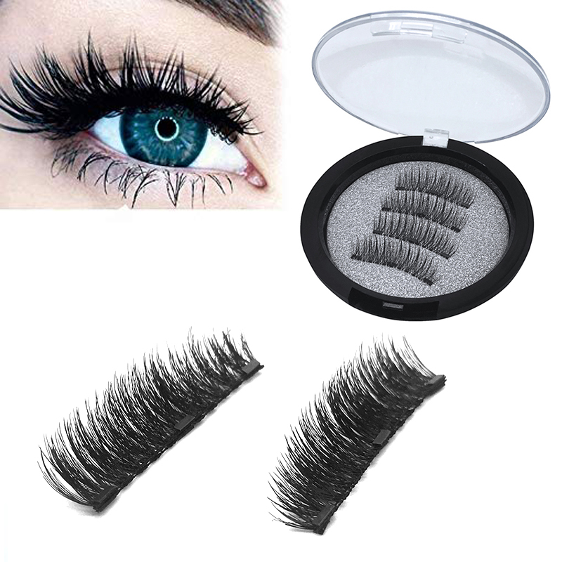 4pcs/pair 3 Magnetic Eyelashes 3D False Eyelashes With 3 Magnets Handmade Natural Long Hair Lashes Extension With Gift Box