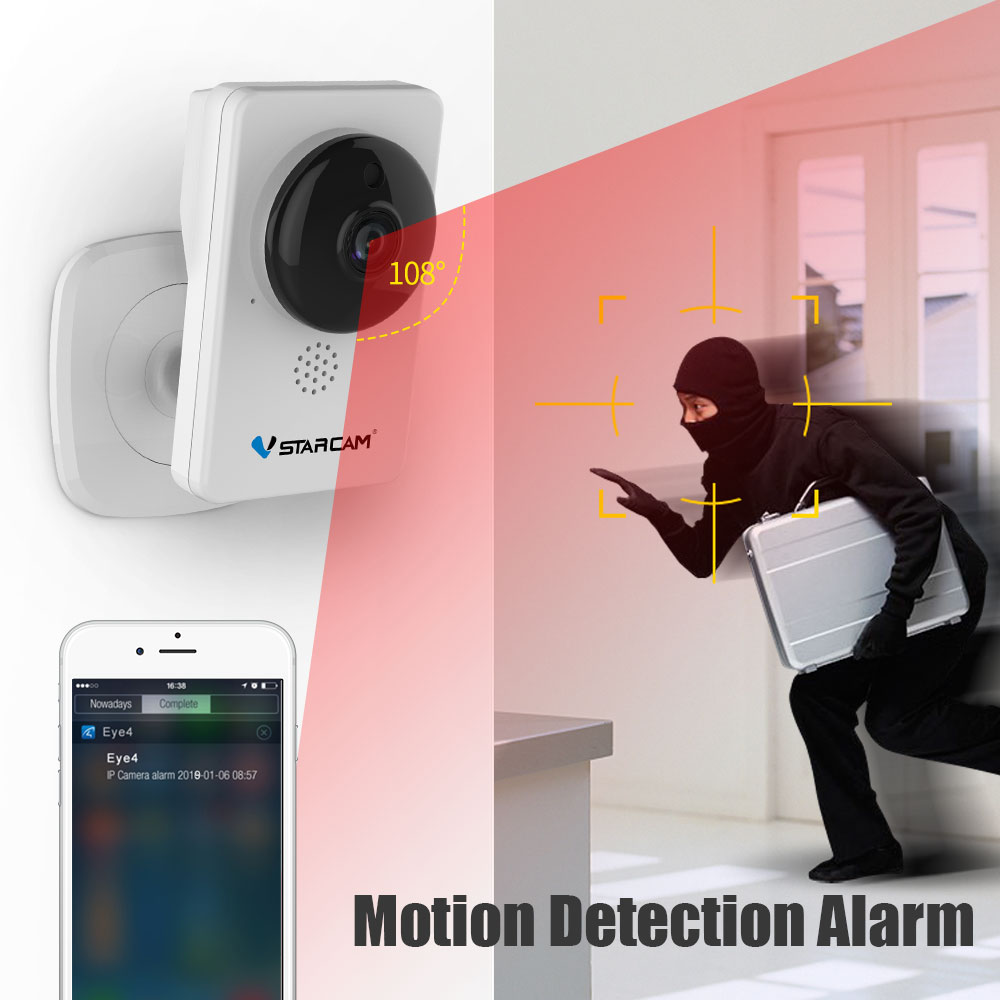 Vstarcam Mini wifi Camera 1080P Infrared night vision Motion Alarm Video Monitor IP Camera C92S White