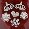 New Hand Made Crystals Metal Crown Heart Flower Snowflake Flatback Decorative Button Fashion DIY Ornament Hair
