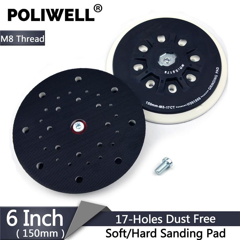 POLIWELL 6 inch 150 mm Back Up Sanding Pad M8 Thread for Hoop and Loop Sanding Disc Dust Free Abrasive Disk Festool Sander Pad