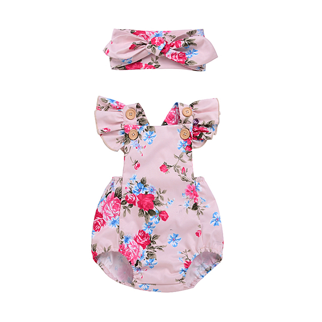 Fashion design Baby girls Clothes summer Newborn Baby Romper pink Flowers Girl Baby Clothes 2pcs set Costume Overalls floral