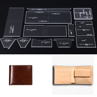 Acrylic Template Leather Pattern Handmamde wallet DIY Hobby Leathercraft Sewing pattern stencils 110X95X20mm