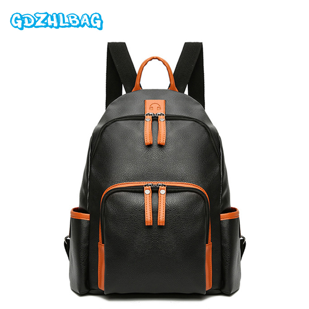 GDZHLBAG Women Leather Backpacks School Bag for Teenage Girls Female Fashion Rucksack Mochila Grey Black Travel Backpack B154 miwind women canvas backpack fashion 4 pieces set printing school backpacks for teenage girls travel shoulder bag rucksack cb249