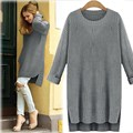 Sweater Women Long Knitted Sweater 2018 Winter Warm Casual Long Sleeve Asymmetric Jumper Loose Pullover Top Pull Femme Plus Size