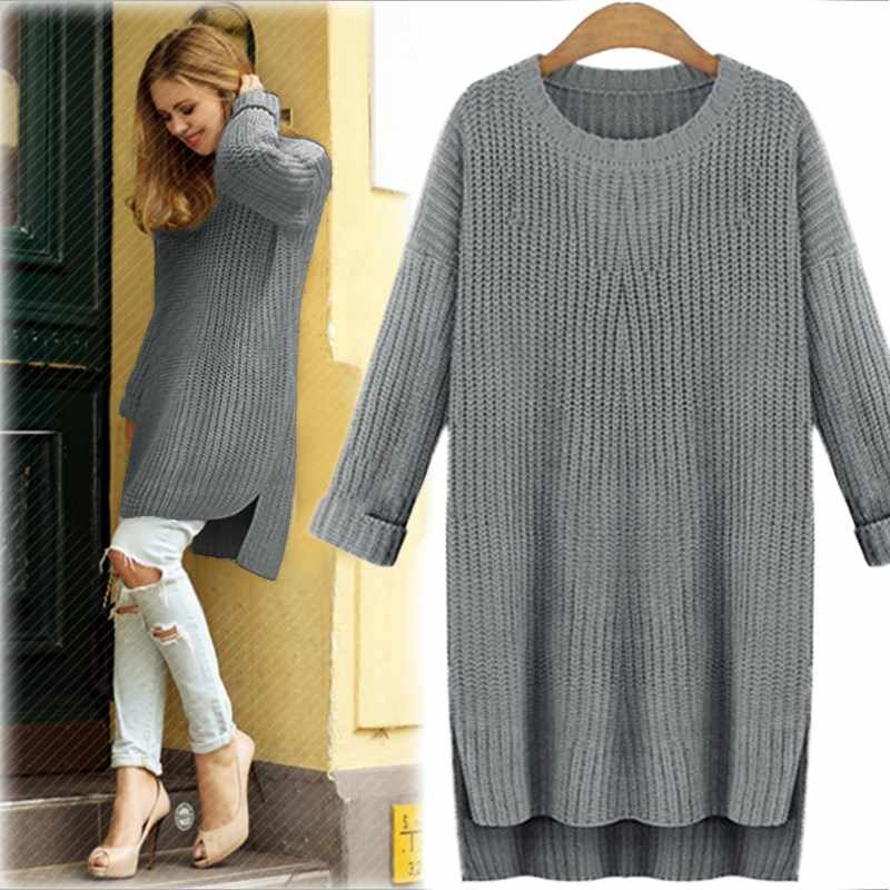 ... Women Sweaters Asymmetrical Long Knit Sweater 2018 Winter Warm Casual Long  Sleeve Jumper Loose Pullover Top ... 1774ce459943