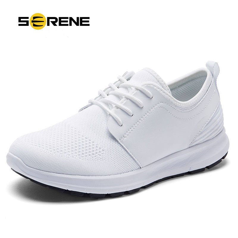SERENE Brand 2017 Men Casual Shoes Summer Fashion Breathable Size 38-44 Light Men Shoes Lace Up Gray Black Mesh Footwear 7155 casual shoes men breathable new fashion men dress shoes good quality working shoes size 38 44 aa30064