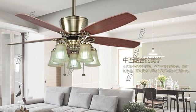 52inch Ceiling Fan Lights Modern Fashion Dining Room Living Bedroom Antique Wood Blade