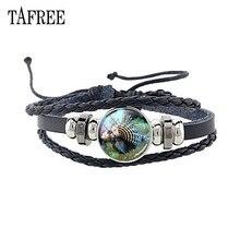 TAFREE Multilayer Leather Glass Fish Jellyfish Charm Bracelet for Men Women Cabochon Picture Bangles J359