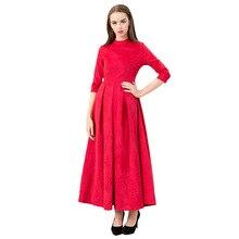 Осенне-зимнее новое модное платье с круглым вырезом и рукавом три четверти, с высокой талией, с широкими кругами, бальное Вечернее платье