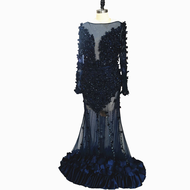 Long Sleeves Mermaid Prom Dresses 2020 Illusion Dubai Navy Beading Crystal Sequined Formal Evening Party Gowns Lace 3D flowers 3