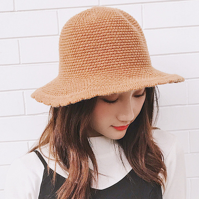 14ee27b2743 HT1950 Women Autumn Winter Hat Korea Style Wave Brim Knitted Hat for Women  Packable Panama Hat Solid Plain Ladies Bucket Hat Cap